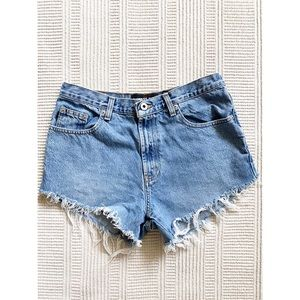 EXPRESS denim cutoff high rise jean shorts blue 10